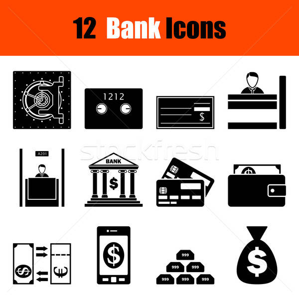 Set of twelve bank icons Stock photo © angelp