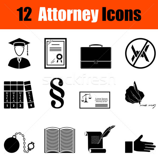 Set of attorney  icons Stock photo © angelp