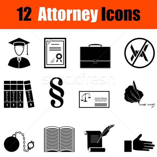 Zestaw prawnik dwanaście czarny ikona Zdjęcia stock © angelp