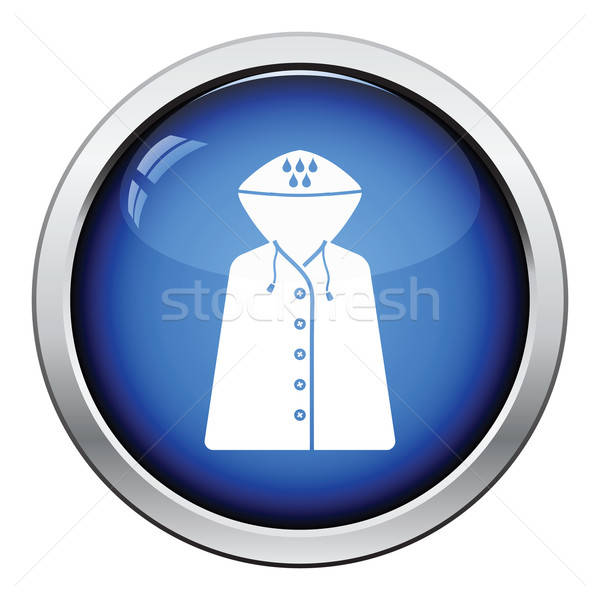 Regenjas icon glanzend knop ontwerp mode Stockfoto © angelp