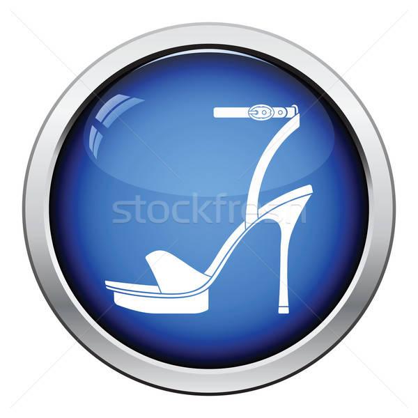 Vrouw icon glanzend knop ontwerp Stockfoto © angelp