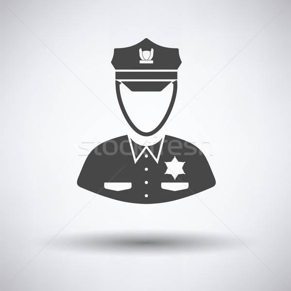 Policjant ikona szary człowiek tle bezpieczeństwa Zdjęcia stock © angelp