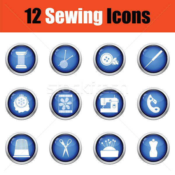 Set of twelve sewing icons.  Stock photo © angelp
