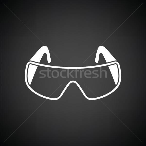 ícone química óculos de proteção preto e branco médico vidro Foto stock © angelp