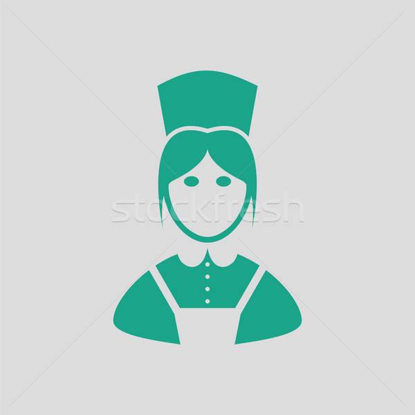 Hotel szobalány ikon szürke zöld nő Stock fotó © angelp
