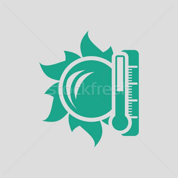 Güneş termometre yüksek sıcaklık ikon gri Stok fotoğraf © angelp