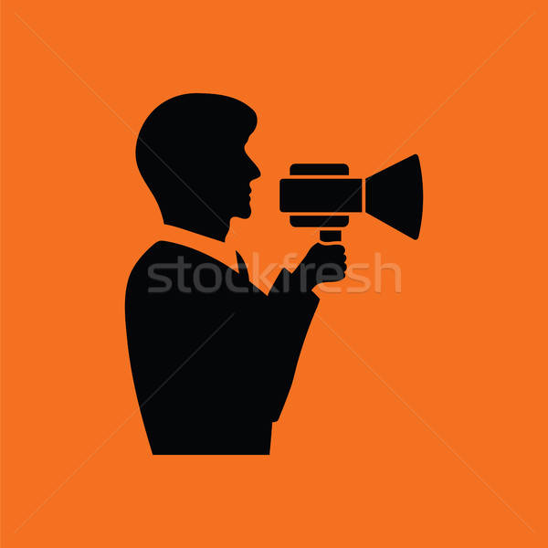 Man with mouthpiece icon Stock photo © angelp