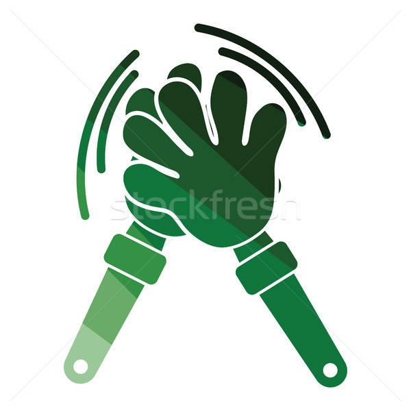 Futball szurkolók kéz játék ikon szín Stock fotó © angelp