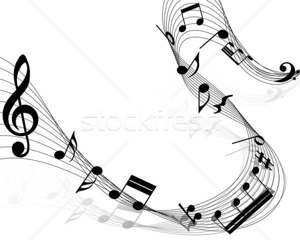Jegyzetek személyzet hangjegyek fehér zene felirat Stock fotó © angelp