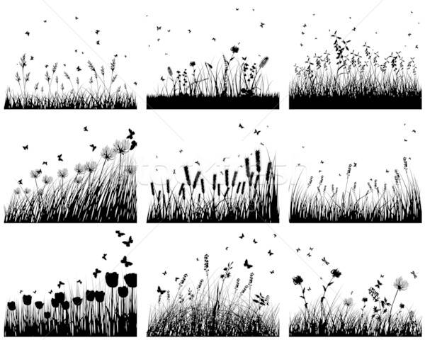 Dziewięć łące zestaw kwiat wiosną Motyl Zdjęcia stock © angelp