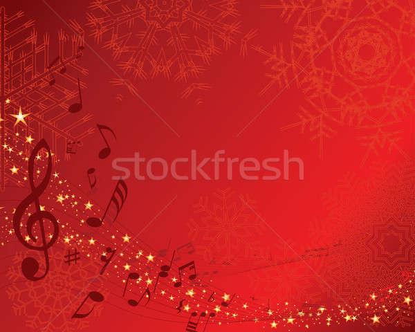 Musical személyzet karácsony új képeslap vektor Stock fotó © angelp