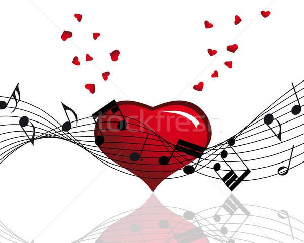 Merkt personeel vector muziek merkt ontwerp hart Stockfoto © angelp