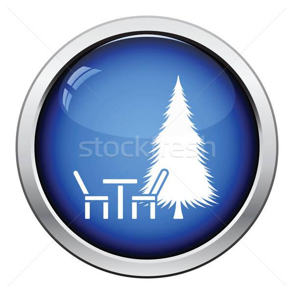 парка сиденье сосна икона кнопки Сток-фото © angelp