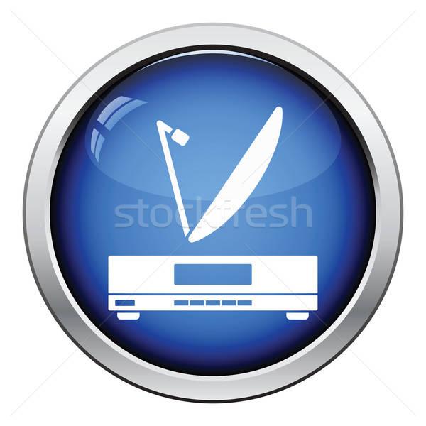 Satelitarnej anteny ikona przycisk projektu Zdjęcia stock © angelp