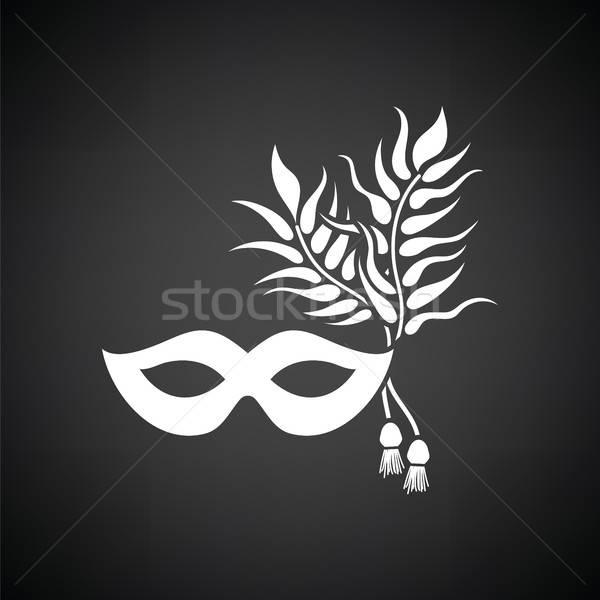 Buli karnevál maszk ikon feketefehér divat Stock fotó © angelp