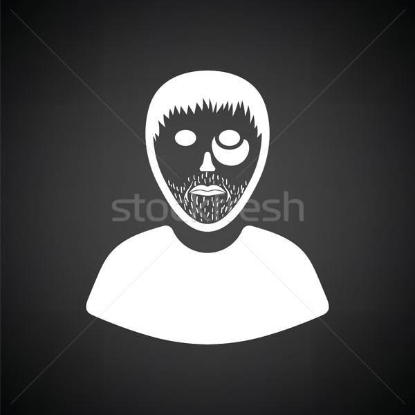 Bűnöző férfi ikon feketefehér kéz biztonság Stock fotó © angelp