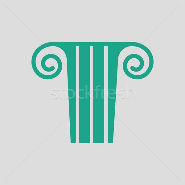 Antyczne kolumnie ikona szary zielone podróży Zdjęcia stock © angelp