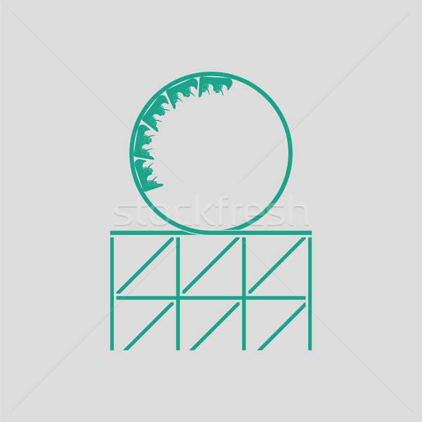 Montagne russe cappio icona grigio verde divertimento Foto d'archivio © angelp