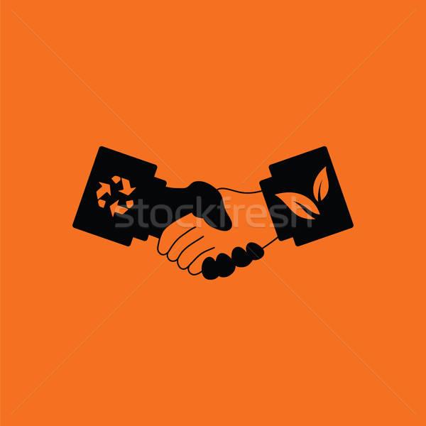 écologique icône orange noir affaires arbre Photo stock © angelp