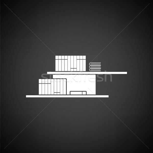 Muur boekenplank icon zwart wit kantoor licht Stockfoto © angelp