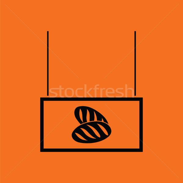 Brood markt afdeling icon oranje zwarte Stockfoto © angelp