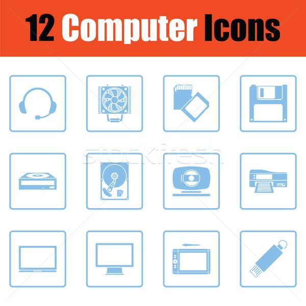 Conjunto ícones do computador azul quadro projeto internet Foto stock © angelp