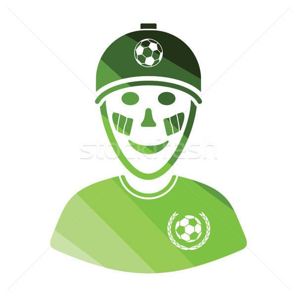 Piłka nożna fan malowany twarz włoski flagi Zdjęcia stock © angelp