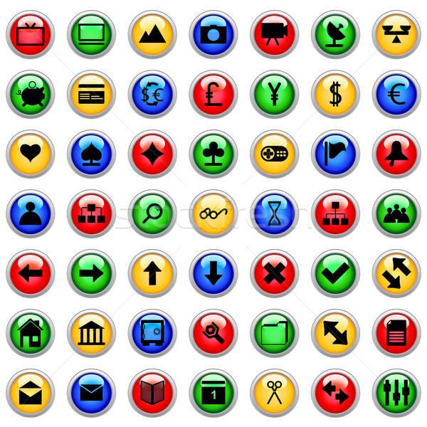 Stock fotó: Webes · ikonok · szett · gyűjtemény · különböző · ikonok · web · design