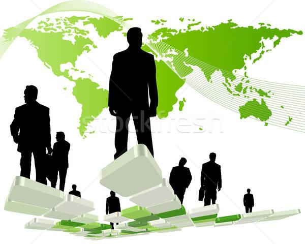 Partout dans le monde affaires silhouettes homme carte affaires Photo stock © angelp