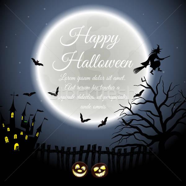 Halloween tebrik kartı mutlu zarif dizayn kale Stok fotoğraf © angelp