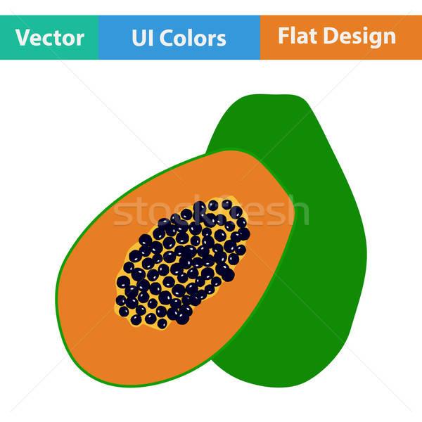 Flat design icon of Papaya Stock photo © angelp