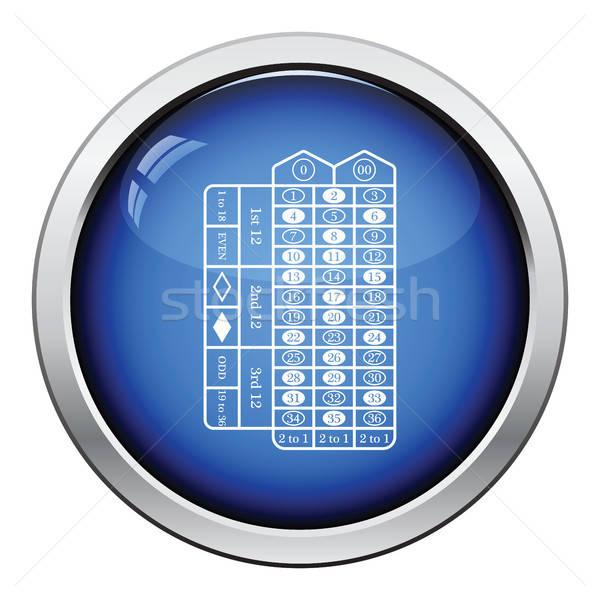 Roulette tabel icon glanzend knop ontwerp Stockfoto © angelp