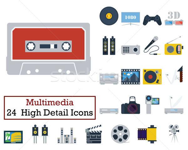 Zestaw 24 multimedialnych ikona kolor Zdjęcia stock © angelp