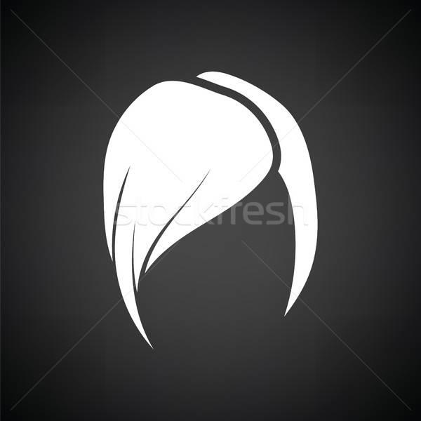 Coiffure icône blanc noir femme visage résumé Photo stock © angelp