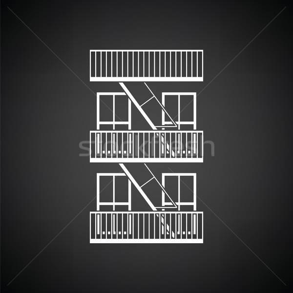 緊急 火災 はしご アイコン 黒白 家 ストックフォト © angelp