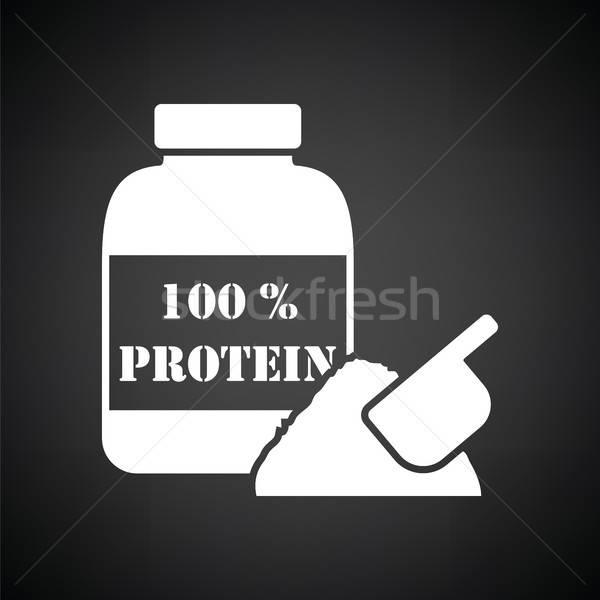 Fehérje ikon feketefehér étel épület egészség Stock fotó © angelp