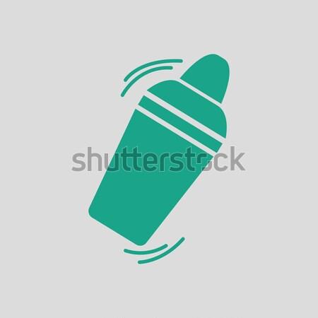 Bár shaker ikon szürke zöld ital Stock fotó © angelp