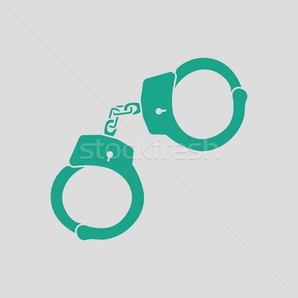 Polícia ícone cinza verde mão Foto stock © angelp