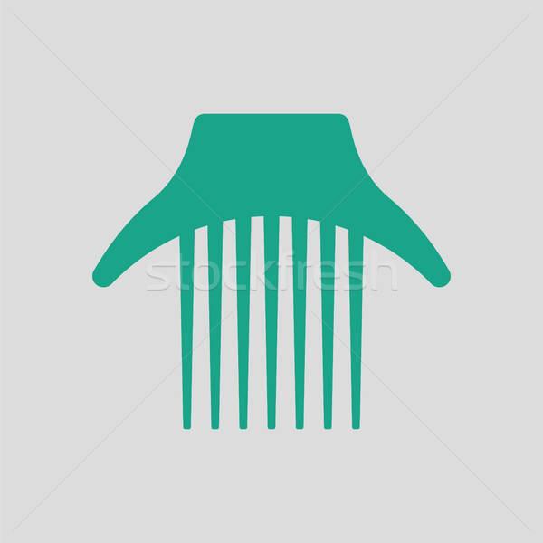 Kam icon grijs groene haren tekening Stockfoto © angelp