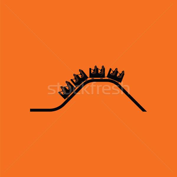 Kicsi hullámvasút ikon narancs fekete jókedv Stock fotó © angelp