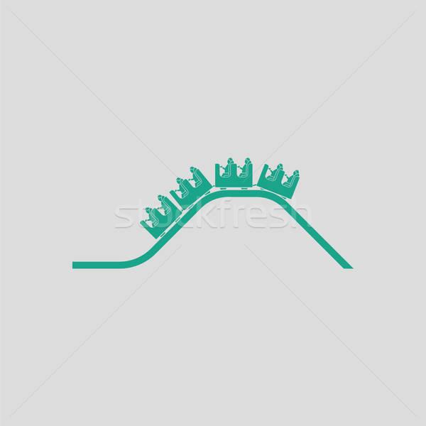 Kicsi hullámvasút ikon szürke zöld jókedv Stock fotó © angelp