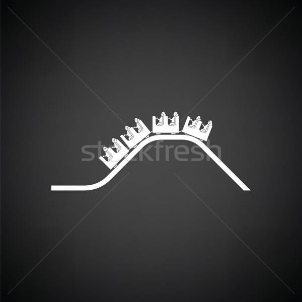 Pequeno montanha-russa ícone preto e branco menino acelerar Foto stock © angelp