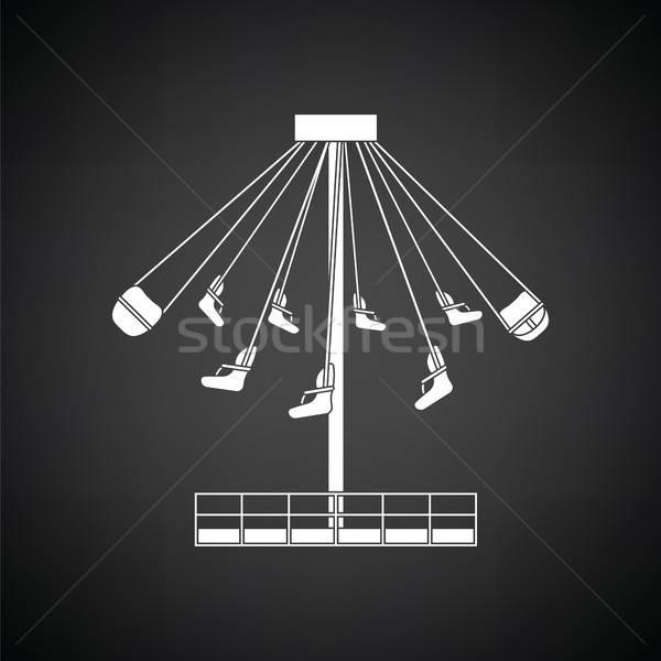 Nagy körhinta ikon feketefehér égbolt család Stock fotó © angelp
