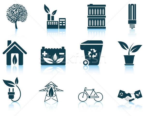 Zestaw ekologiczny ikona eps 10 Zdjęcia stock © angelp