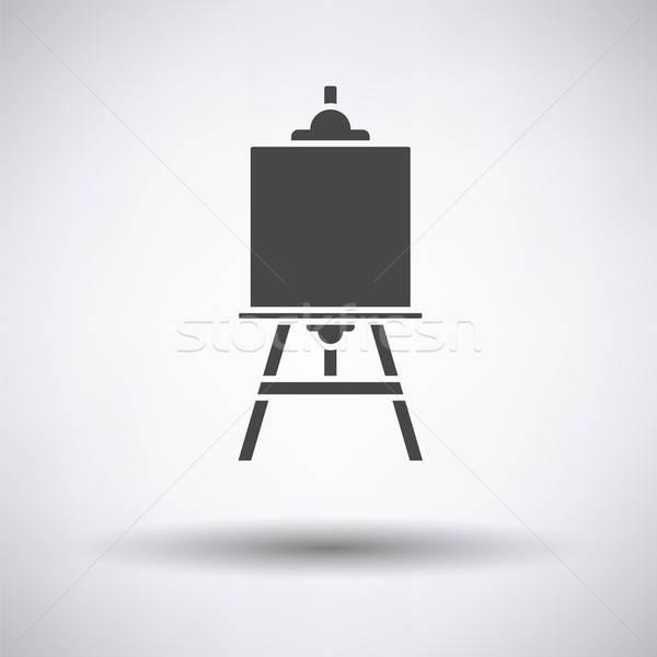 Sztaluga ikona szary drewna edukacji przestrzeni Zdjęcia stock © angelp
