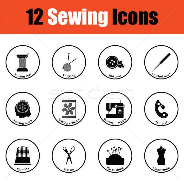 Conjunto doze de costura ícones fino Foto stock © angelp