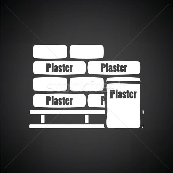 палитра штукатурка мешки икона черно белые строительство Сток-фото © angelp