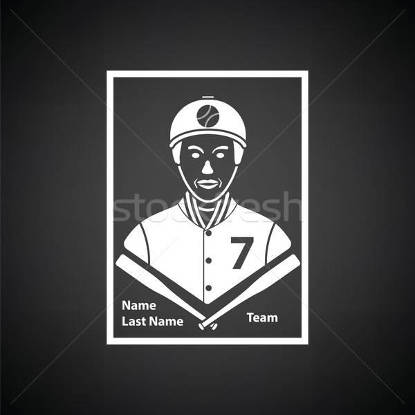 Baseball karty ikona czarno białe podpisania zespołu Zdjęcia stock © angelp
