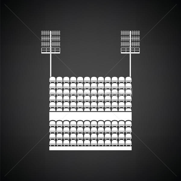 Stadium tribune with seats and light mast icon Stock photo © angelp