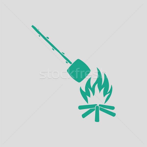 Camping fuego malvavisco icono gris verde Foto stock © angelp